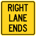 Wa-24Rt Right Lane Ends Tab Sign