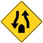 Wa-35 Divided Road Ends Sign