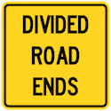 Wa-35t Divided Road Ends Tab Sign