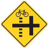 Bicycle Crossing Side Street Left Sign